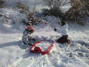Niños y nieve en La Rioja